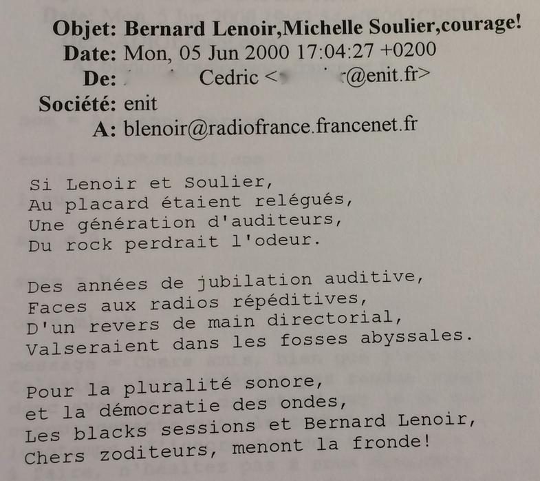 1  De nombreuses émissions de Bernard Lenoir sur Inter se finissaient par  cet formule Caresse et bise à l oeil cc76acb3b08c